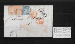 1854-1862 SITZENDE HELVETIA Ungezähnt (Strubel)  → PD. Brief Chaux-de-Fonds ►SBK-2x 25D/B3 & 23Cc/B3.III◄ - Lettres & Documents