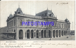 104655 URUGUAY MONTEVIDEO ESTACION DE TREN STATION TRAIN YEAR 1904 ED ENRIQUE MONEDA POSTAL POSTCARD - Uruguay