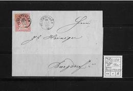 1854-1862 SITZENDE HELVETIA Ungezähnt (Strubel)  → Nachnahme Feuerthalen Nach Burgdorf  ►SBK-24G/B4◄ - Covers & Documents