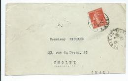 N°YT 195 Seul Sur  Lettre De Paris Pour Cholet 1925 - France