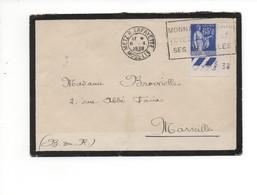 Cachet Metz R. Lafayette Moselle Sur Paix 65c En Coin Daté 2 8 38  Verso Marseille Distribution Foire De Marseille... - Storia Postale