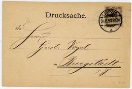 "Nr. 45 EF ""LEIPZIG"" Postkarte 1893 - Germany"