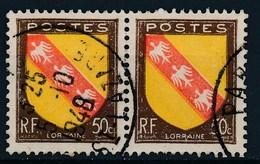France-Blasons 50c Lorraine YT 757 Paire Horizontale Obl - 1941-66 Armoiries Et Blasons