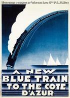 Railway Postcard Blue Train To The Cote D'Azur  1928 - Reproduction - Pubblicitari