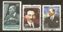 Turquie Turkey Various Personages Avec Ataturk Obl - 1921-... République