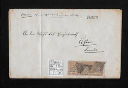 1854-1862 SITZENDE HELVETIA Ungezähnt (Strubel)  → Brief Franko FORCH Nach Uster  ►SBK-22B/B1 Dreierstreifen►RRR◄ - 1854-1862 Helvetia (Non-dentelés)
