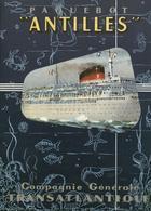 """France Navigation Postcard C.G.T. Paquebot """"Antilles"""" 1961 - Reproduction - Pubblicitari"""
