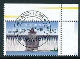 GERMANY Mi. Nr. 3000 100 Jahre Möhnetalsperre - ET Weiden - Eckrand Oben Rechts - Used - [7] République Fédérale
