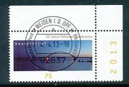 GERMANY Mi. Nr. 3001 50 Jahre Fehmarnsundbrücke - ET Weiden - Eckrand Oben Rechts - Used - [7] République Fédérale