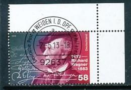 GERMANY Mi. Nr. 3008 200. Geburtstag Von Richard Wagner - ET Weiden - Eckrand Oben Rechts - Used - [7] République Fédérale