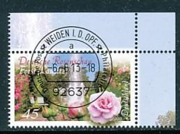 GERMANY Mi. Nr. 3012 Deutsche Rosenschau, Forst - ET Weiden - Eckrand Oben Rechts - Used - [7] République Fédérale