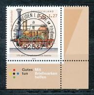 GERMANY Mi. Nr. 3027 Tag Der Briefmarke: 175 Jahre Dampflokomotive -Saxonia - ET Weiden - Eckrand Unten Rechts - Used - [7] République Fédérale