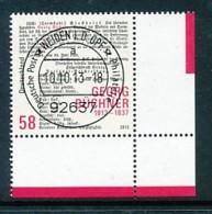 GERMANY Mi. Nr. 3031 200. Geburtstag Von Georg Büchner - ET Weiden - Eckrand Unten Rechts - Used - [7] République Fédérale