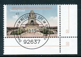 GERMANY Mi. Nr. 3033 100 Jahre Völkerschlachtdenkmal, Leipzig - ET Weiden - Eckrand Unten Rechts - Used - Gebraucht