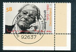 GERMANY Mi. Nr. 3037 100. Geburtstag Von Willy Brandt  - ET Weiden - Eckrand Unten Rechts - Used - [7] République Fédérale