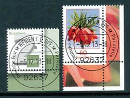 GERMANY Mi. Nr. 3042,3043  Freimarke: Ziffernzeichnung, Blume  - ET Weiden - Eckrand Unten Rechts - Used - [7] République Fédérale