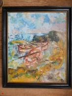 Tableau Marine Barques Sur Les étangs Huile Sur Toile Impressionniste 55 X 46cm Signé - Huiles