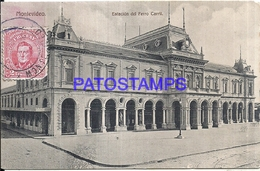 104664 URUGUAY MONTEVIDEO STATION TRAIN ESTACION DE TREN SPOTTED CIRCULATED TO SPAIN POSTAL POSTCARD - Uruguay