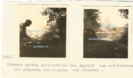 WW2 RARE 2x PHOTO ORIGINALE Soldats Allemands ACTION Combat Prise POUXEUX JARMENIL P. Remirement Epinal 88 VOSGES 1940 - 1939-45