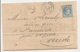 Lettre 1871, Expédition Champigny Sur Marne à Laredorte (Aude) Cachet 865 - Marcophilie (Lettres)
