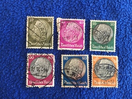 Germany - Hindenburg Issue 1932  Set Of 6 Stamps, Canceled & Hinged - Germany