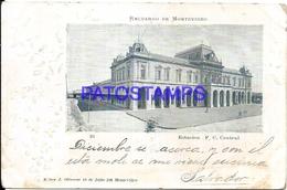 104666 URUGUAY MONTEVIDEO STATION TRAIN ESTACION DE TREN CENTRAL YEAR 1903 ED J. OLIVERAS SPOTTED POSTAL POSTCARD - Uruguay
