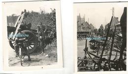 WW2 2x PHOTO ORIGINALE Soldats Allemands & Canon Français + Matériel Abandonnés DEFAITE 1940 - 1939-45