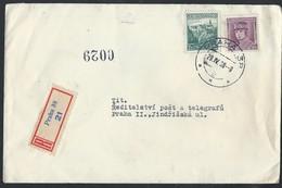 5ch.Registered Local Letter. Post 1938. Prague. Label. Czechoslovakia. - Czechoslovakia