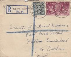 COVER. EIRE. 16 MAR 1949. REGISTERED NEW ROSS TO DURHAN - 1949-... République D'Irlande