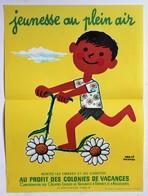 1967 Petite Affiche Illustrateur Hervé Morvan Jeunesse Au Plein Air Centre De Vacances Et De Plein Air - Affiches