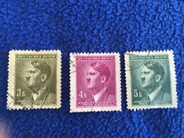 Germany - Bohemia & Moravia 1942 Issue, Set Of 3, Canceled & HInged - Used Stamps