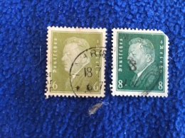 Germany -1928 Issue, Set Of 2 Canceled & HInged - Used Stamps