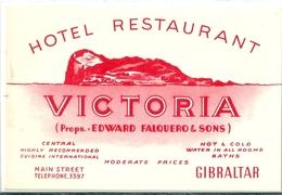 Carte  Publicitaire  De  L' HOTEL   RESTAURANT    VICTORIA     à  GIBRALTAR . - Hotels & Restaurants