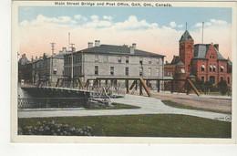 GALT, Ontario, Canada,  Main Street Bridge & Post Office, Old WB Postcard, Waterloo County - Ontario