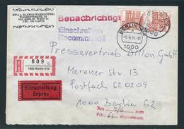 ORTSEINSCHREIBEN+EXPRESS Innerhalb Berlins, Portorichtig (50+200+350 = 600), Rückseitig 6 Stempel - Berlin (West)