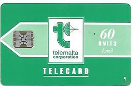 CARTE-n-MALTE-60U-PUCE SC5-GENERIQUE VERTE V°N°Rge C31141001-Utilisé-TBE - Malte