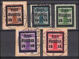 Glauchau 21-24 Und 26 Aufdruckmarken, 5 Werte O / Briefstücke, Meist BPP-geprüft - Deutschland