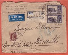INDE LETTRE RECOMMANDEE DE 1939 DE PONDICHERY POUR MARSEILLE FRANCE - 1936-47 Roi Georges VI