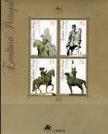 Reiter 1995 Portugal Block 110 ** 5€ Skulpturen Pferde Standbild Graf Ritter Hb Bloque Art Bloc Ss Sheet Bf History - 1910-... Republic