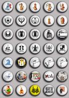 35 X Chess Fan ART BADGE BUTTON PIN SET 5 (1inch/25mm Diameter) - Badges