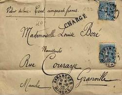 Timbres  N° 132 En 3 Exemplaires Sur Lettre Chargé D'Avancées Pour Granville - Marcophilie (Lettres)