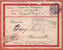 HONGRIE ENTIER POSTAL RECOMMANDE DE 1915 DE BUDAPEST POUR MARSEILLE FRANCE - Entiers Postaux