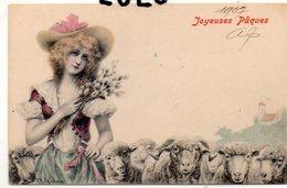FEMMES 682 : Précurseur : Bergère Moutons Joyeuse Paques 1907 : Signé R R V Wichera - Femmes