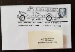 """ETATS UNIS Pompiers, Firemen, Bomberos. Oblitération Temporaire """"POMPIERS"""" 12 Aout 1989 à LIVERPOOL N.Y - Sapeurs-Pompiers"""