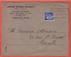 FRANCE PERFORE SUR LETTRE DE 1938 DU HAVRE POUR MARSEILLE - Francia