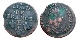 LOUIS XIV Liard De France 1656 E (Meung Sur Loire) C2G R2 A VOIR!!! - 987-1789 Monnaies Royales
