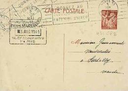Carte 431 CPE 2 De Paris Pour Sartilly - Entiers Postaux