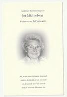 Doodsprentje Jet MICHIELSEN Wed. Van Aert Arendonk 1919 Zoersel 2003 - Images Religieuses