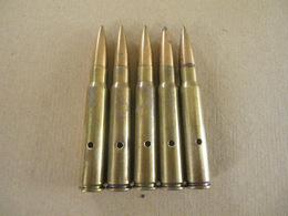 5 Cartouches Allemandes Cal 7,92 Mm Mauser Neutralisées. - Equipement