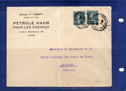 ##(ROYBOX1)-Postal History-France 1922- Maison F.Vibert Cover (Petrole Hahn Pour Les Cheveux) From Lyon To Livorno-Italy - Storia Postale